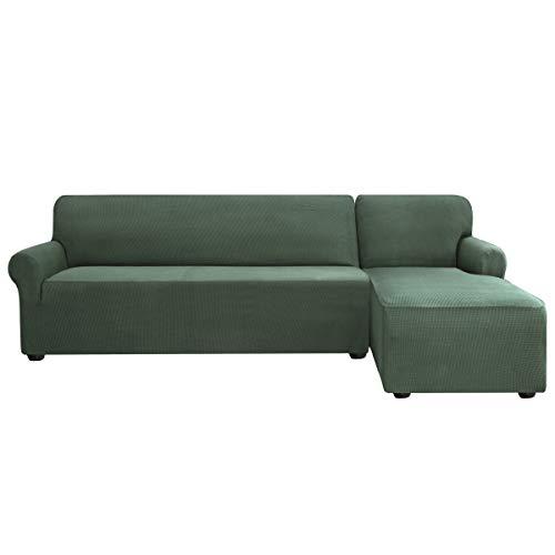 subrtex Sofabezug L Form Stretch Sofahusse Ecksofa Elastisch Antirutsch Eckcouch überwurf Weich Stoff Abwaschbar (Rechts 2 Sitzer, Olivgrün)