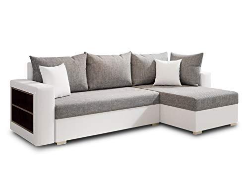 Ecksofa Lord mit Regal und Schlaffunktion - Sofa mit Bettkasten, Schlafsofa, Polsterecke, Couch L-Form, Couchgarnitur, Sofagarnitur (Weiß + Grau (Dolaro 511 + Berlin 01), Ecksofa Rechts)