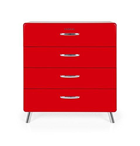 Tenzo 4924-028 Cobra Designer Kommode, 92 x 86 x 43 cm, MDF lackiert, rot