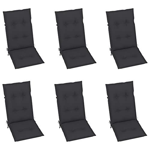 vidaXL 6X Gartenstuhl Auflage für Hochlehner Kissen Sitzkissen Stuhlkissen Polster Stuhlauflage Sitzauflagen Sitzpolster Anthrazit 120x50x7cm