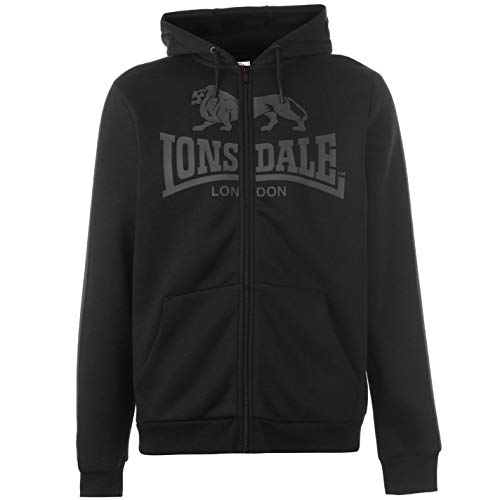 Lonsdale Herrens 2S Zip Kapuzenpullover Kapuzensweatjacke Schwarz/Charcoal XXXL