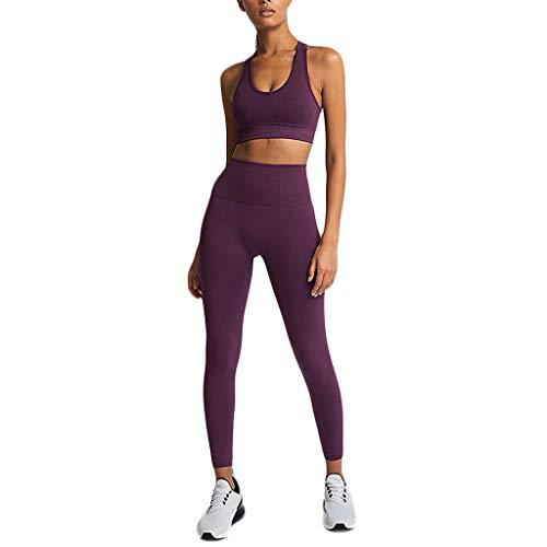 Jogginganzug Yoga Damen 2Pcs Sport Bustier+Blickdichte Leggings Lang Kompressions Trainingsanzug Herbst Sommer Atmungsaktiv Fitness Workout Sportanzug Kanpola