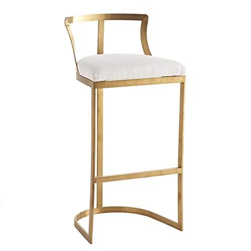 Tabouret de Bar Moderne Repose-Pieds rembourré et Coussin en éponge de Dossier Chaise de Salle à Manger Tabouret de Petit-déjeuner pour Cuisine Pub Café Tabouret Haut Jambes en métal doré