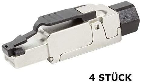 Faconet® 4X CAT 6A RJ45 Netzwerkstecker Crimpstecker bis 10 GBit/s kompatibel CAT 7 CAT 7A werkzeuglos Stecker für Verlegekabel Netzwerkkabel LAN Kabel