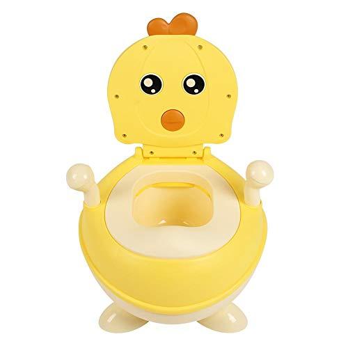 EBTOOLS - Riduttore per WC, Portatile, vasino per Bambini con Pad Antiscivolo e Supporto per Schiena, Simpatico Aspetto Pulcino, 45 x 36 x 32 cm Giallo.