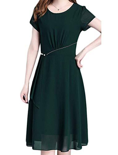 Damer E rund hals kortärmad sommarklänning casual bekväma storlekar Midi-klänning plus storlek damkläder knälång enfärgade slim fit solklänningar