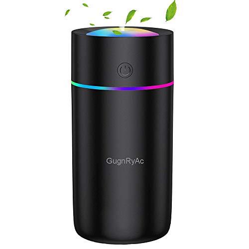 Humidificador pequeño con USB, para coche, oficina, dormitorio, 2 modos de niebla, muy silencioso, apagado automático y función de luz nocturna (negro)