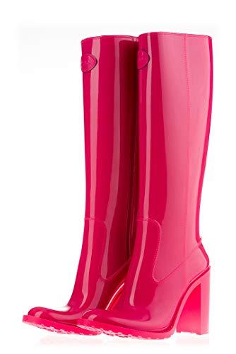 MEI Damen Gummistiefel Hoch mit Absatz Pink 36 EU