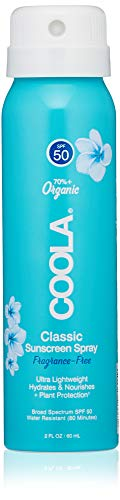 COOLA Organic Sunscreen & Sunblock Spray, Skin Care for Daily Protection, Broad Spectrum SPF 50, Reef Safe, Fragrance Free, 2 Fl Oz