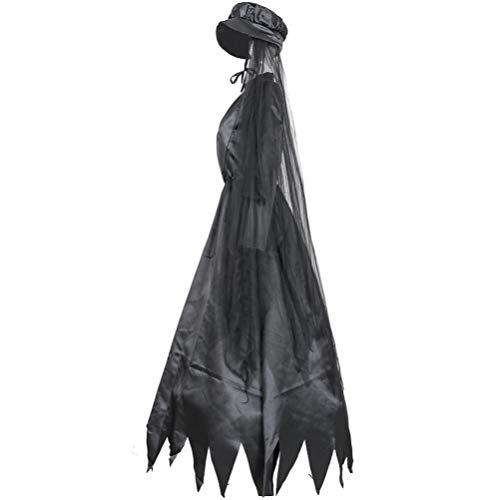 KESYOO 1 Set Frauen Halloween Kleid Kostüm Viktorianischen Kleid Renaissance Kostüm Frauen Gothic Hexenkleid mit Kopfbedeckung Mittelalterlichen Hochzeitskleid Schwarz Größe M