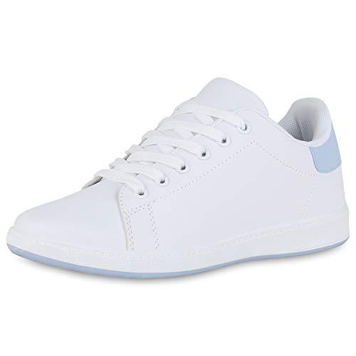 SCARPE VITA Damen Sneaker Low Turnschuhe Basic Leder-Optik Schuhe Schnürer Freizeitschuhe Bequeme Schnürschuhe 191175 Weiss Hellblau 40