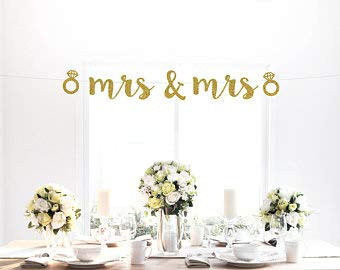 Tamengi Mr & Mrs with Diamond Rings Banner, Gold, Wedding, Engagement, Party Decor, Sign, Photo Backdrop, Custom Glitter Banner, Art Decor