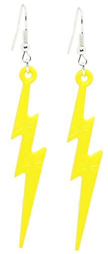 Bluebubble LUCKY LIGHTNING Flash Bolt Dangle Earrings Gift Boxed (Acid Yellow)