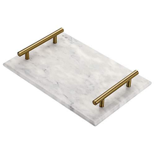 SUMTREE Bandeja para servir de mármol con 2 asas de metal, bandeja para servir, bandeja, plato para joyas para mesa de café, salón, escritorio, cocina, cuarto de baño (rectangular, gris)