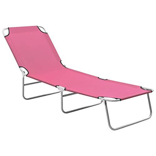 Tidyard Chaise Longue Pliable Transat pour Jardin ou Plage Lit de Repos Acier et Tissu Rose