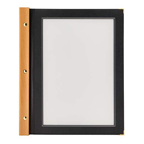 Securit Porta Menù Wood A4 -Struttura in Legno Teak e Bordi rifiniti Color Nero con 2 inserti
