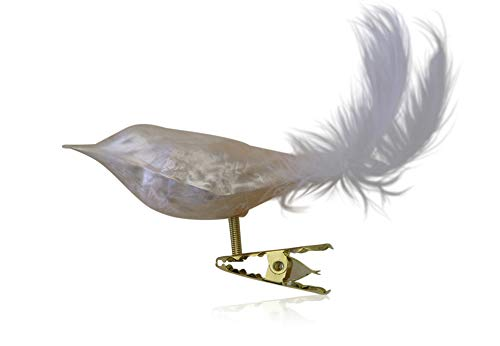 Vögel mit Federschwanz Eislack champagner 3 Stück Christbaumschmuck Weihnachtsbaumschmuck mundgeblasen Lauschaer Glas das Original