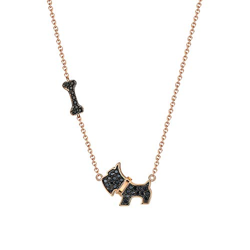 Scottie Dog Bone Chain Pendant Necklace Stud Earrings or Set Rose Gold Over Sterling Silver Black Cubic Zirconia CharmPuppy Lover Gifts Paw Pet Gift by Ginger Lyne Jewelry for Women Girls Mom Black