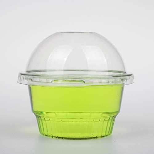 Golden Apple, vasos de plástico transparente de 8 onzas para helado, cuenco para aperitivos, 4 tipos de tazas, Tazas con tapas de cúpula Sin orificio, 8 Ounce (Pack of 25), Transparente, 1