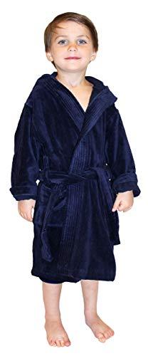 Bademantel mit Kapuze, für Jungen und Mädchen, Frottee, Velours -  Blau -  XL
