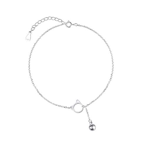 FGT Cat Anklet Charm Bracelet Sterling Silver Bell Anklets Gift for Sister Daughter Girlfriend Birthday