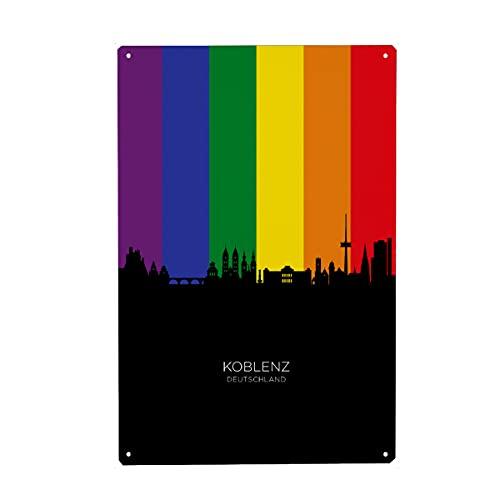 artboxONE Metall-Poster 20x30 cm Städte Koblenz Germany Skyline Pride von Künstler Michael Tompsett