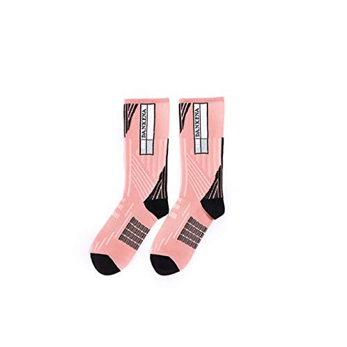 WXYPP Kompressionssocken for Frauen Outdoor Motion Football Socks Kompressionssocken for Frauen Durable (Color : Pink, Size : Medium-barreled)