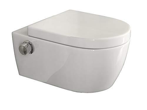 SSWW | Taharet WC | Inkl. Armatur und abnehmbarer Softclose Sitz | Dusch-WC | Hänge-WC | Toilette mit Bidet-Funktion | Hygienisch | Shattaf | Alpha Unterspülrand | 540 x 360 x 330 mm