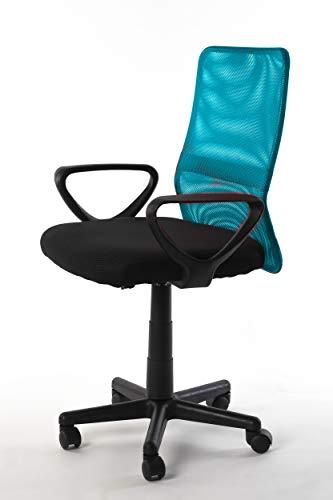 NAKURA Silla de Oficina en Tejido 3D, con Sistema de balanceo, reposabrazos Desmontables y Respaldo ergonómico Azul Claro