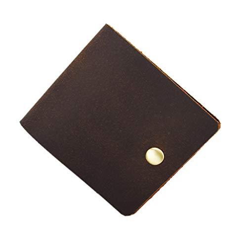 Vintage hecho a mano corto hombres multi-tarjeta monedero Snap monedero bolsa de cuero genuino