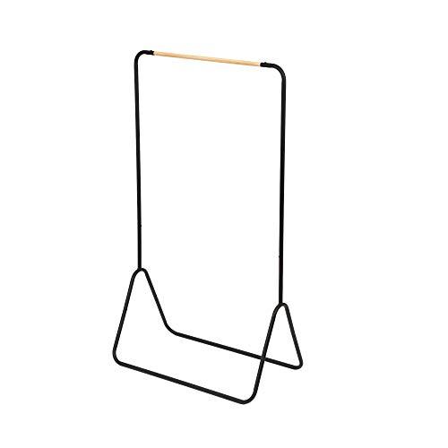 Compactor, Portant pour Vêtements, Acier Laqué Mat, Noir et Bois, Dim : 80 x 43 x H.145 cm, RAN8615