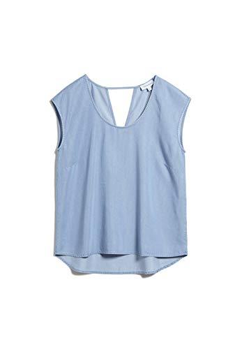 ARMEDANGELS Damen SAAVA - SAAVA - L Light Denim Blue 50% Lyocell (Tencel™), 50% Viskose (lenzing™ Ecovero™) Bluse Kurzarm