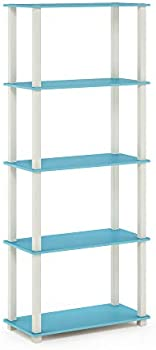 Furinno Turn-S 5-Tier Multipurpose Shelf Display Rack with Square Tubes