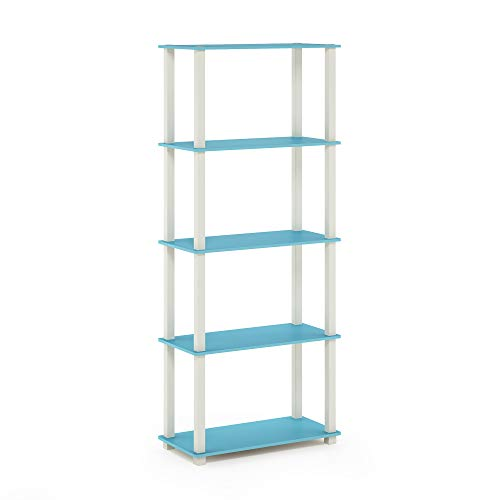 Furinno Turn-S 5-Tier Multipurpose Shelf Display Rack with Square Tubes, Light Blue/White -  18123LB/WH