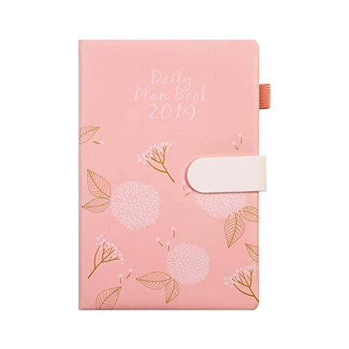 ZRJ Cuaderno de negocios versión completa en inglés de la piel A5, plan mensual, cuaderno de oficina, estudiante, suministros necesarios para regalo para estudiantes (color rosa, tamaño: 15 x 21,7 cm)