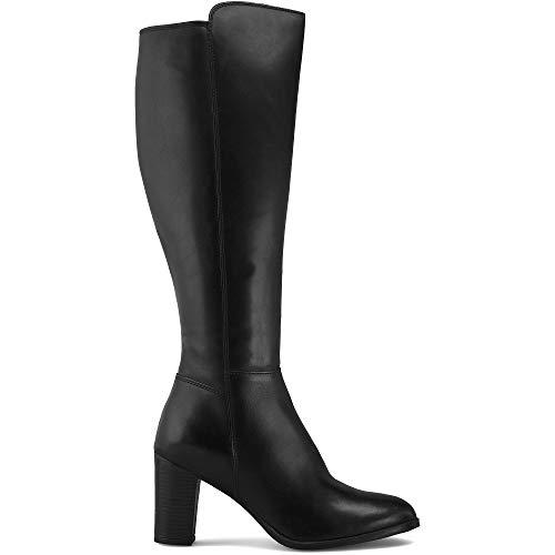 DRIEVHOLT Damen Klassik-Stiefel, eleganter Langschaft-Stiefel mit 6 cm Block-Absatz und praktischem Reißverschluss, Boots aus Leder in Schwarz Schwarz Glattleder 39
