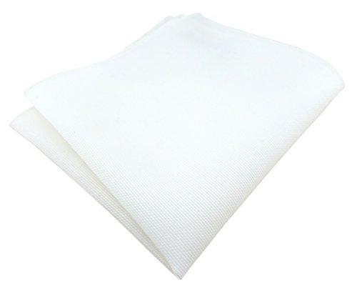 TigerTie - hochwertiges Einstecktuch aus 100% Baumwolle in weiß einfarbig Unicolor - Einstecktuch 26 x 26 cm