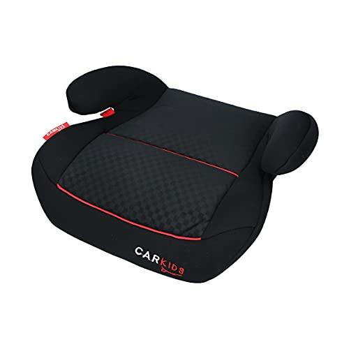 Carkids Auto-Kindersitzerhöhung Schwarz und Rot, Autokindersitz Gruppe 2-3, Kinder von 3,5-12 Jahre 15-36 kg