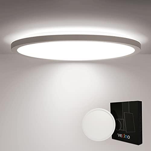 LED Deckenleuchte Flach 18W, Deckenlampe Panel Rund 4000K IP44, Ultra Dünn, 30cm Weiß für Badezimmer/Flur/Balkon/Küche
