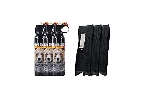 Guard Alaska 9 oz. Bear Spray Repellent + Pepper Enforcement Belt Clip Holster - Maximum Strength Bear Deterrent (3-Pack)