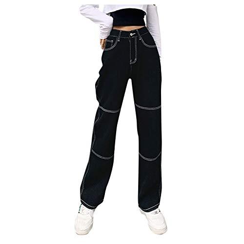 Cocila Damen Punk Schwarze Baggy Jeans, High Waist Cargo Hosen, Retro Gothic Straight Leg Lange Jeans Freizeithosen Breites Bein Hose