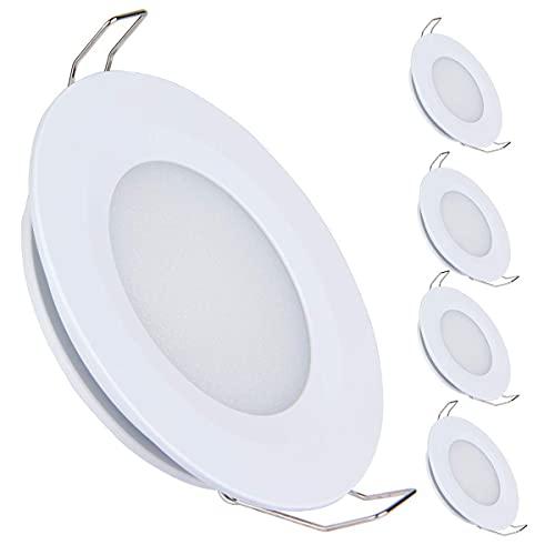Acegoo 4 x Faretti LED da Incasso 12V 3W 3200K Plafoniere per camper barca roulotte furgone cucina bagno, 240LM bianco caldo(finitura bianca)