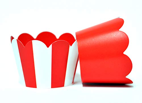 Red and White Stripe Cupcake Wrappers for Kids Birthday Parties, Baby Showers, Circus themed parties and school events. Set of 24 Reversible Red and White Vertical Striped to Solid Red Cup Cake Holder