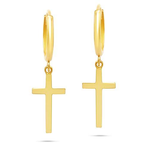 10k Solid Yellow Gold Minimalist Huggie Hoop Earrings with Dangle Cross (Unisex)