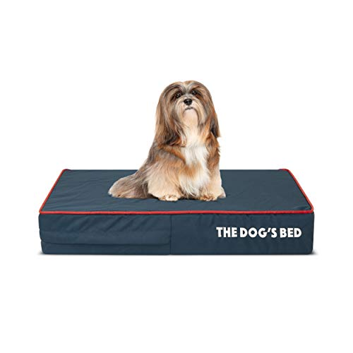 The Dog's Bed Orthopedic Dog Bed Small Blue/Red 28x19, Premium Memory Foam, Pain Relief: Arthritis, Hip & Elbow Dysplasia, Post Surgery, Lameness, Supportive, Calming, Waterproof Washable Cover