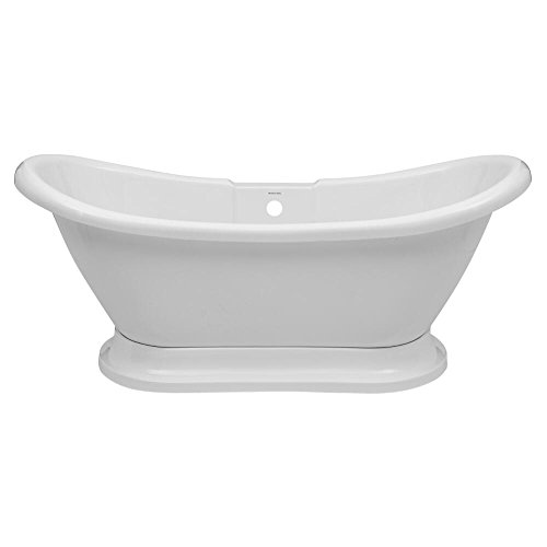 Hudson Reed Meldon Freistehende Badewanne - Acrylbadewanne in Weiß mit Sockel - 1750 x 725 mm - 190 L Fassungsvermögen