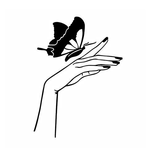Adesivo per Auto Cane Adesivi Murali da 12,4 Cm * 17 Cm Decalcomania in Vinile per Mani E Farfalle Manicure per Unghie Art Sticker per Auto Nero/Argento
