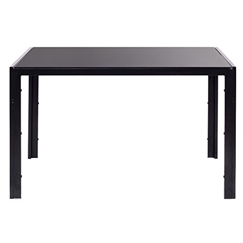 EBS Brand Modern Faux Marble & Glass Dining Table (Black, Black Table)