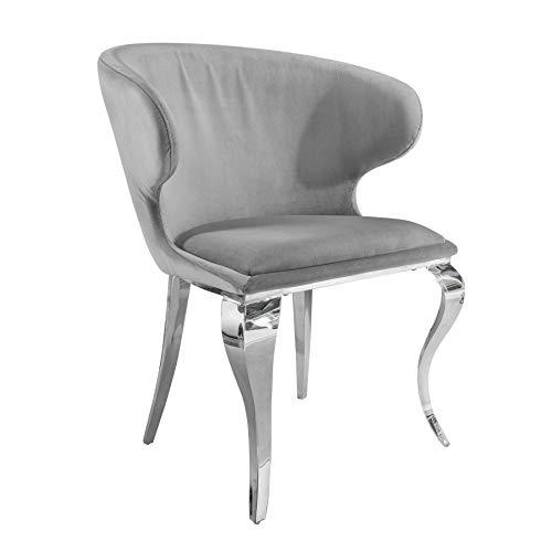 Riess Ambiente Eleganter Stuhl MODERN BAROCK II grau Samt Edelstahl Esszimmerstuhl Küchenstuhl