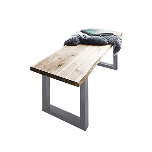 SAM Sitzbank 200x42 cm Quintus, Akazien-Holz naturfarben, Silber lackierte Metallbeine, Bank mit echter Baumkante, Massive Holzbank